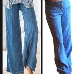 Anthropologie Cidra wide leg blue linen pants